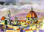 Florence Cathedral Watercolor & Ink by Ginette Posters
