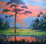 Fire Sky Slash Pine Tree by Mazz Original Paintings