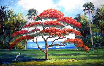 Red Royal Poinciana Tree By Mazz Original Paintings