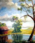 Florida Country Pond by Mazz Original Paintings