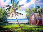 Coconut Tree by the Shack by Mazz Original Paintings