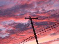 Sunset Clouds with Telephone Pole