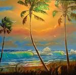Glowing Beach Seascape by Mazz Original Paintings
