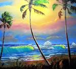 Glowing Beach by Mazz Original Paintings