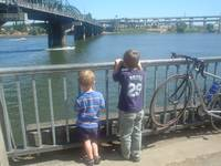 Looking at the Hawthorn Bridge, Portland, Oregon