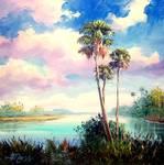 Sabal Palmetto Trees by Mazz Original Paintings