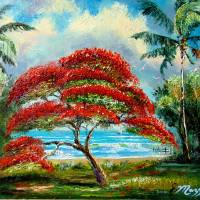 """Royal Poinciana Tree Painting"" by mazz"