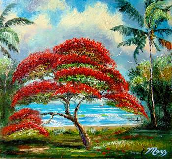 Royal Poinciana Tree Painting By Mazz Original Paintings
