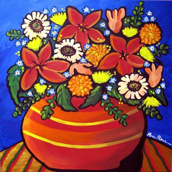 Fall Floral by artist Renie Britenbucher. Giclee prints, art prints, posters, still life, flowers; from an original  painting