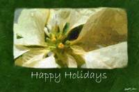 Yellow Poinsettias 1 Painterly - Happy Holidays