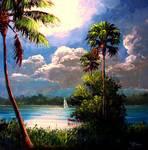 Moonlight Sailing by Mazz Original Paintings