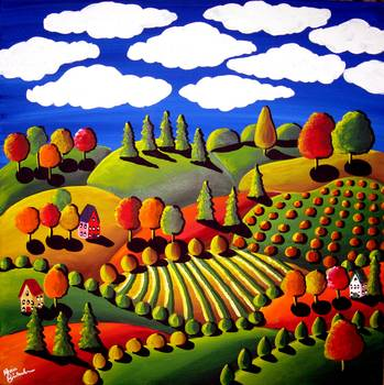 Fall Landscape by artist Renie Britenbucher. Giclee prints, art prints, posters, rolling hills and farmland; from an original  painting