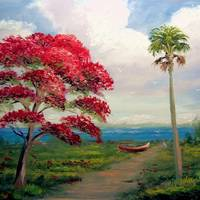 """Royal Poinciana and Canoe"" by mazz"