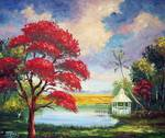 Royal Poinciana Gazebo by Mazz Original Paintings