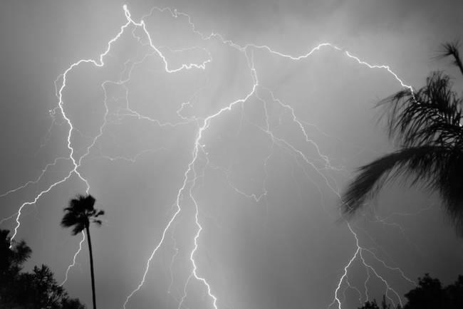 Monsoon Lightning - Black and White