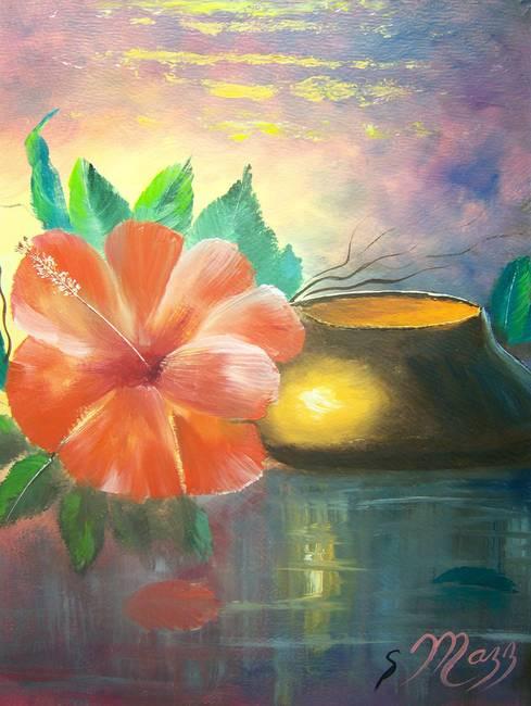 Hibiscus Flower Vase By Mazz Original Paintings