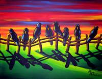 Crows in Sunset