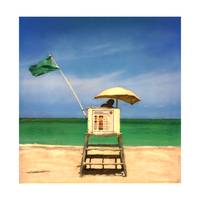Hollywood Beach FL, Lifeguard Stand and Green Flag