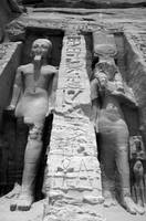 Ramses II and Nefertari bw