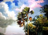Palm Trees in the Wind Palette knife