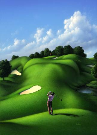 Love of the Green by artist Jerry LoFaro. Giclee prints, art prints, surrealism, golf art, naked woman, nude; from an original illustration