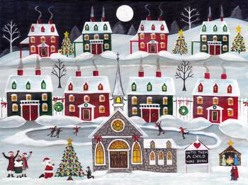 Christmas Village Church Santa Nativity Folk Art By Cheryl