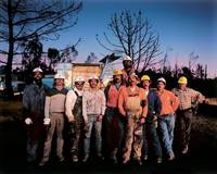 PGE Crew, Sunset, Day After 1991 Oakland Fire by WorldWide Archive