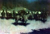 Scare in a Pack Train (1908) by Remington