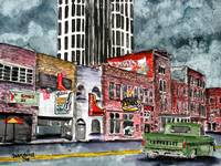 Nashville Tennessee country music art drawing