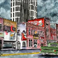 """Nashville Tennessee country music art drawing"" by derekmccrea"