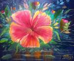 Tropical Hibiscus Flower Art by Mazz Original Paintings