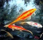 Koi Fish Oil Painting by Mazz Original Paintings