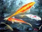 Koi Fish Painting by Mazz Original Paintings