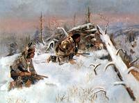 Crow Indians Hunting Elk (1887) by Charles Russell