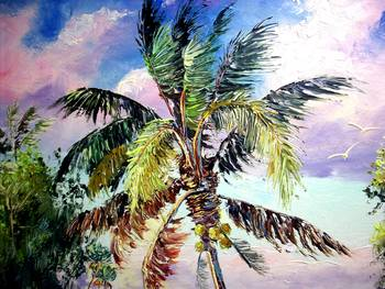 Palm tree oil painting by mazz original paintings for Painting palm trees