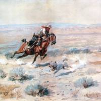 """Roping a Wolf (1901) by Charles Russell"" by ArtLoversOnline"