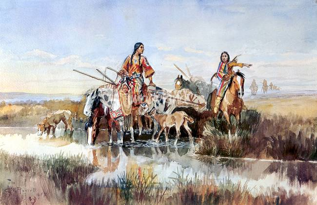 Squaws with Travois )1897( by Charles Russell