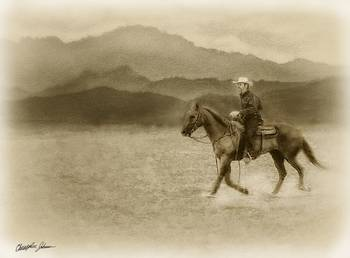 Riding in the Desert Antiqued by Christopher Johnson