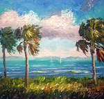 Cabbage Palms along the River by Mazz Original Paintings
