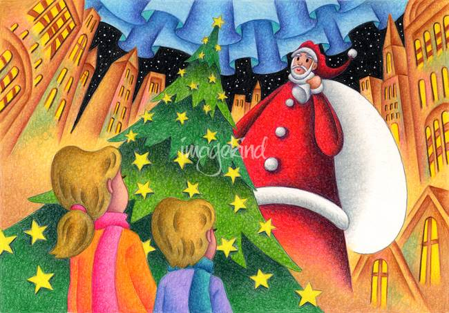 Christmas illustration - Big Christmas tree