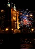 Fireworks at the Roebling Bridge
