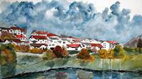 Italian landscape watercolour painting art print