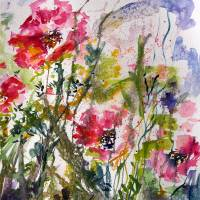"""""""Pink Oriental Poppies Watercolor by Ginette"""" by GinetteCallaway"""