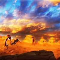 """Fiery Sunset Pan"" by desertskiesphotography"