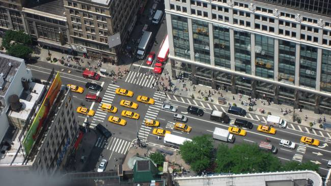 Taxis as seen from the Empire State Building