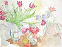 Still life with flowers - watercolor