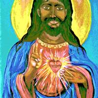 """Black Jesus Sacred Heart1"" by CASB"