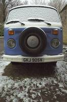 camper van with snow