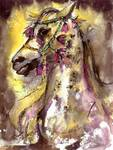 Arabian Stunning Horse Portrait in Watercolor by G