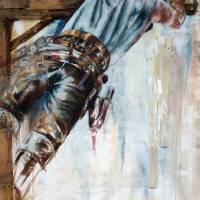 """""""Lineman 1, Oil ; Wood on Canvas"""" by cathryns"""